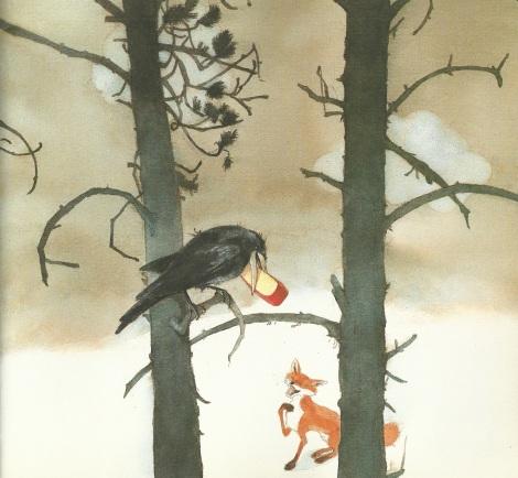 Lisbeth Zwerger - La volpe e il corvo, Esopo - favole