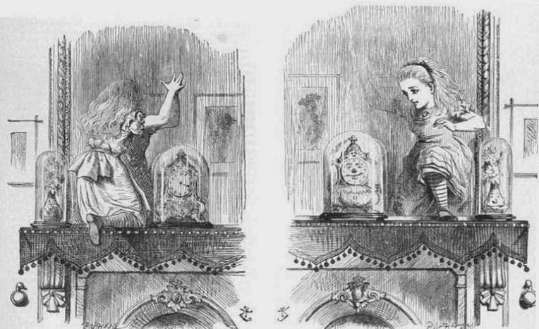 """Humpty Dumpty e Alice, da """"Attraverso lo specchio e quel che Alice vi trovò"""". Illustrazione classica di John Tenniel."""