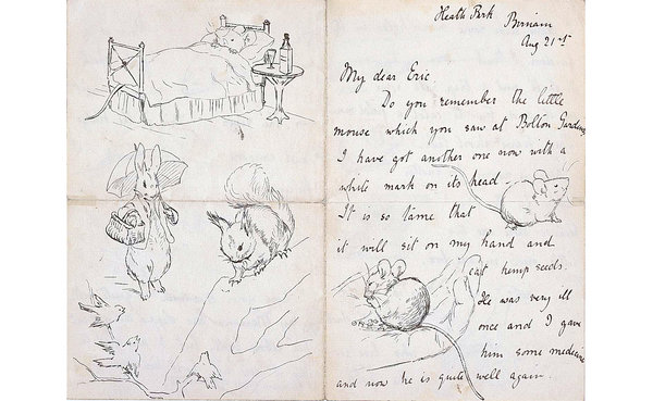 PAgine di una lettera scritta da Beatrix Potter a Eric Moore (21 agosto 1892). Credit: Cotsen Children's Library, Department of Rare Books and Special Collections , Princeton University Library
