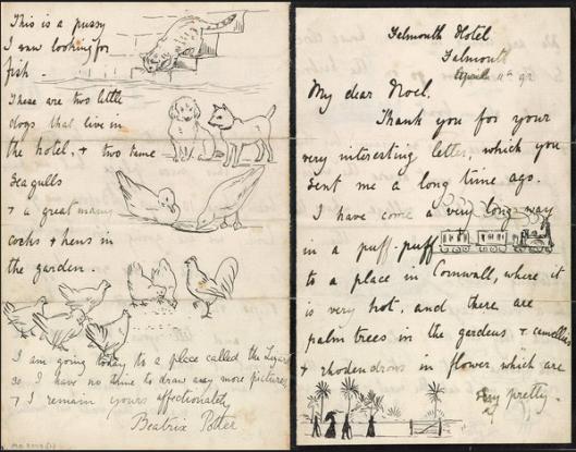 Pagine di una lettera di Beatrix Potter a Noel Moore (11 marzo 1892) - Credit: The Morgan Library & Museum, New York