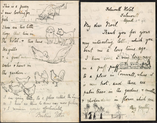 Pagine di una lettera di Beatrix Potter a Noel Moore (11 marzo 1892) - Credit: The Morgan Library & Museum, New York