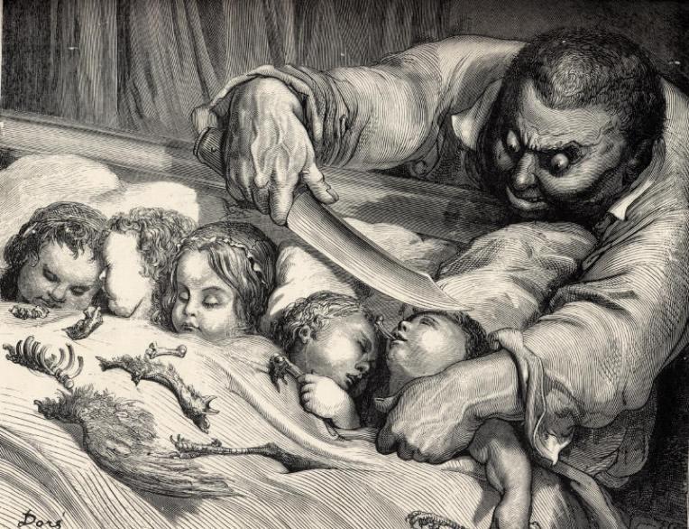 E nel dir così, senza esitare, tagliò la gola alle sue sette figliuole. Gustave Dorè, Pollicino. Carlo Collodi, I racconti delle fate - Adelphi, 2002