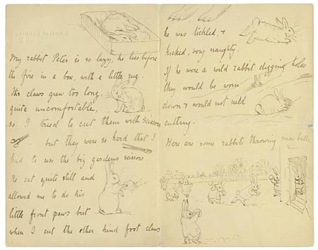 "Beatrix Potter (1866–1943) ""My rabbit Peter is so lazy."" Autograph letter signed to Noël Moore, 4 February 1895"