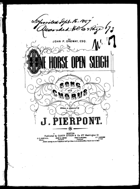 One Horse Open Sleigh - James Lord Pierpont