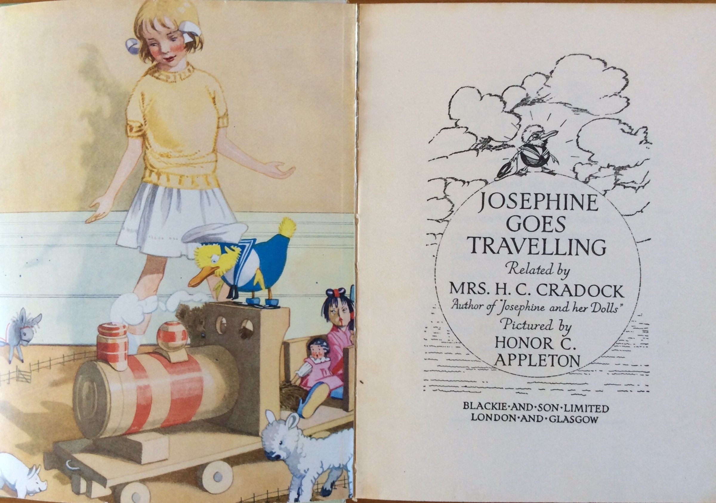 Josephine Goes Travelling, di Mrs. H.C. Cradock, illustrato da Honor C. Appleton - Blackie and Son Limited
